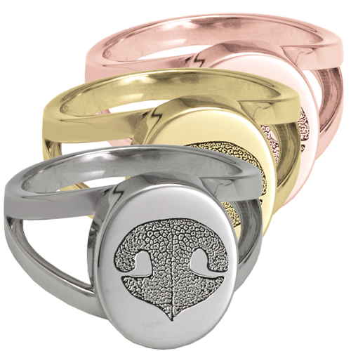 Split Ring with actual Noseprint shown in silver and gold