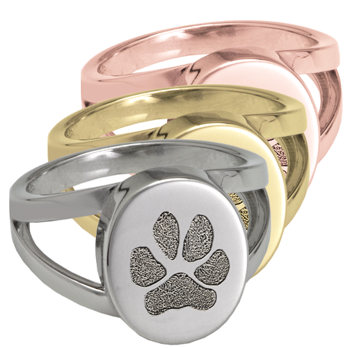 "Oval ""V"" Ring with actual Pawprint in silver or gold"