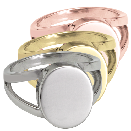 "Wholesale ""V"" Ring Cremation Jewelry in silver and gold"