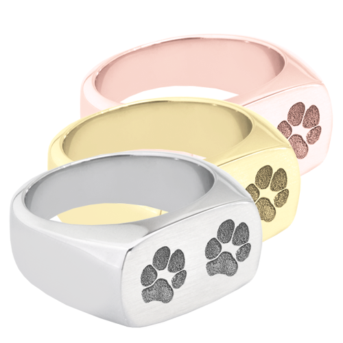 2 paw prints engraved on rectangle ring
