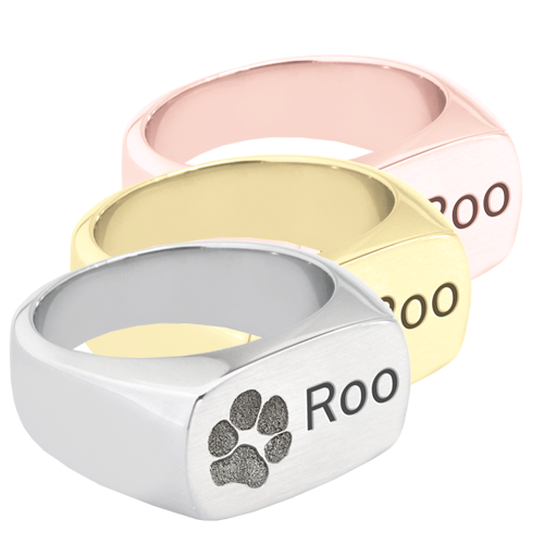 paw print with name engraved on rectangle ring
