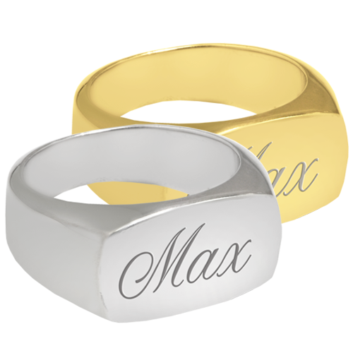 Rectangle Ring Cremation Jewelry engraved with name
