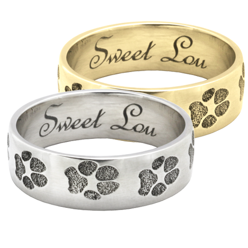 Wrap-Around Paw Print Band Ring in silver or gold
