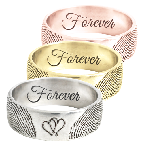 Personalized Jewelry Band Ring with 2 Prints + Hearts in silver and gold