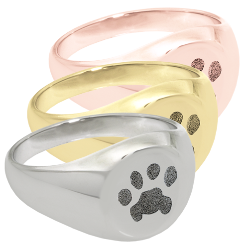 Wholesale Pet Pawprint Elegant Round Ring in silver or gold