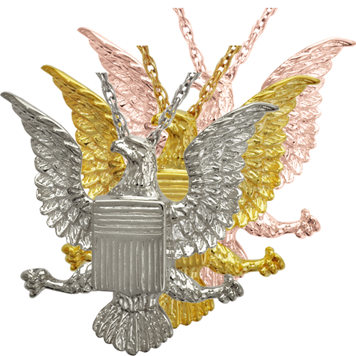 Eagle Badge cremation jewelry shown in silver and gold metal choices