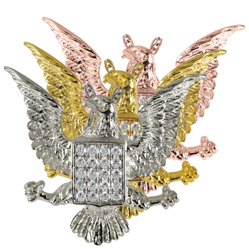 Jeweled Eagle cremation jewelry shown in silver and gold metals