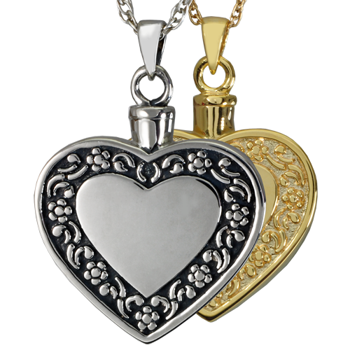 Rimmed Heart jewelry shown in silver and gold metal options