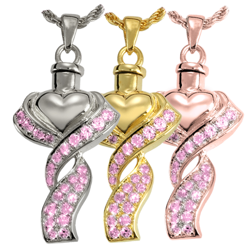 Ribboned Heart Pink Stones wholesale jewelry shown in silver and gold metal