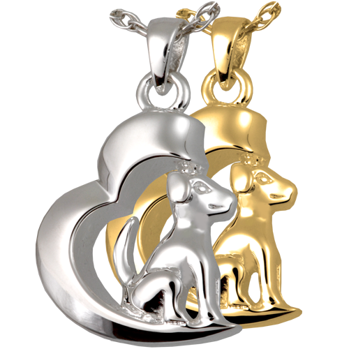 In My Heart Dog pet jewelry shown in silver and gold metals