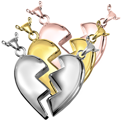 Companion Heart Pendant jewelry shown in silver and gold metals