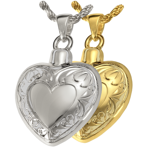 Wholesale Cremation Jewelry: Double Etched Heart shown in silver and gold