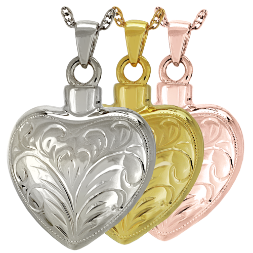 Wholesale Cremation Jewelry Etched Heart shown in silver and gold metals