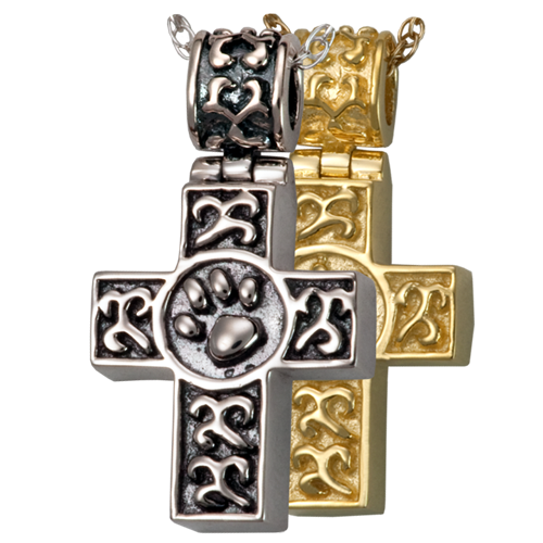 Wholesale Pet Cremation Jewelry Paw Print Cross shown in silver and gold