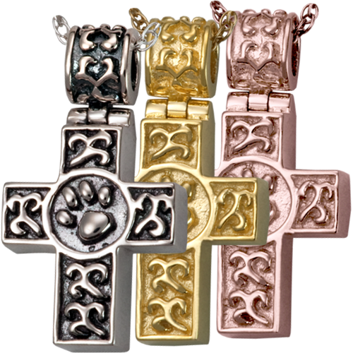 Wholesale Pet Cremation Jewelry Paw Print Cross shown in silver and golds