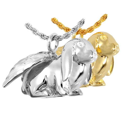 Bunny, Lop cremation jewelry shown in silver and gold metals