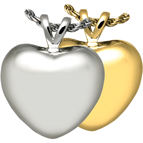 Wholesale Cremation Jewelry Strong Heart shown in silver and gold metals