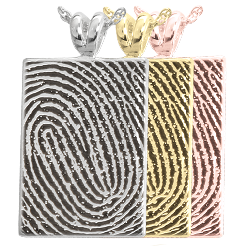 Wholesale B&B Rectangle Fingerprint Jewelry shown in silver and gold option