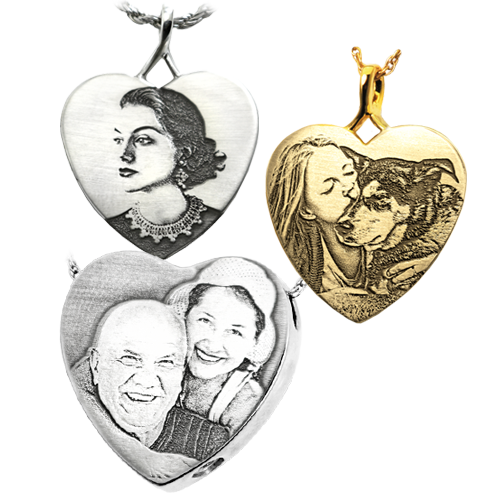 laser engraved photo jewelry samples