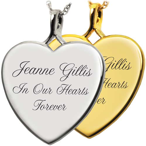 Wholesale Heart Flat with Text Engraving in silver or gold