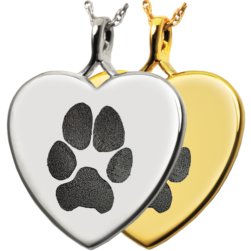 Heart Actual Pawprint Pet Jewelry no chamber in silver and gold