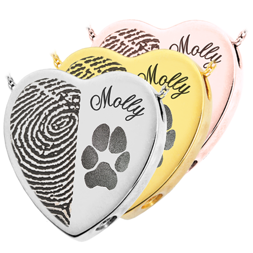 eart Halfprint Pawprint Name Pet Jewelry no chamber silver and gold