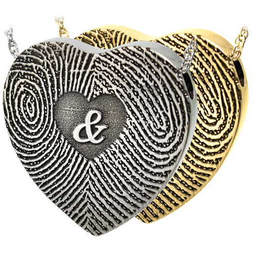 Wholesale Heart Jewelry 3D Duo Fingerprints Ampersand in silver or gold