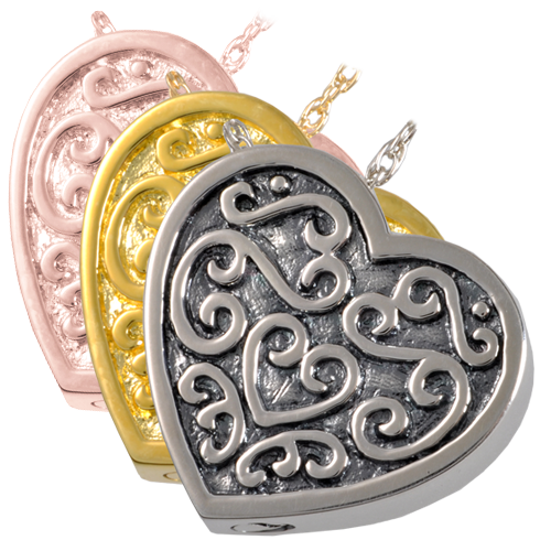 Ornate Heart wholesale jewelry shown in silver and gold metal options