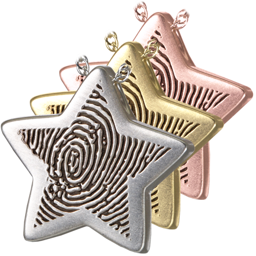 Wholesale Fingerprint Cremation Jewelry Slide Star shown in silver and gold