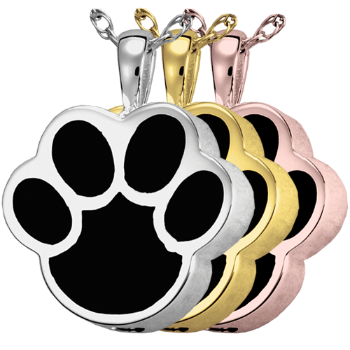 Wholesale Cremation Jewelry Black Inlay Paw Print shown in silver and golds