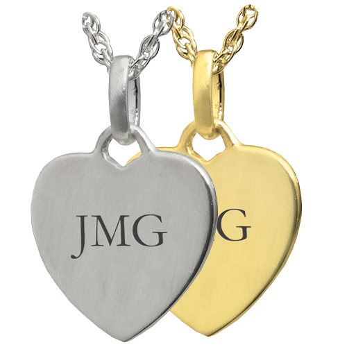 Wholesale Petite Heart Flat with Text Engraving in silver or gold metals