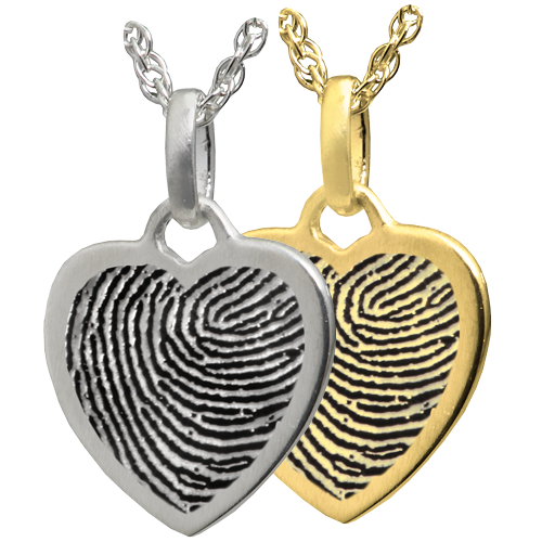 miniature heart charm fingerprint necklace