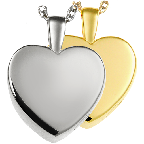 Wholesale Cremation Jewelry Classic Heart, Small shown in silver and gold