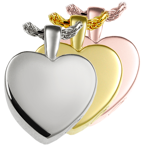 small classic heart cremation jewelry in silver, yellow or rose gold