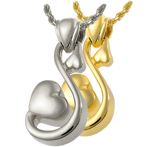 Wholesale Cremation Jewelry Infinite Love shown in silver and gold metals