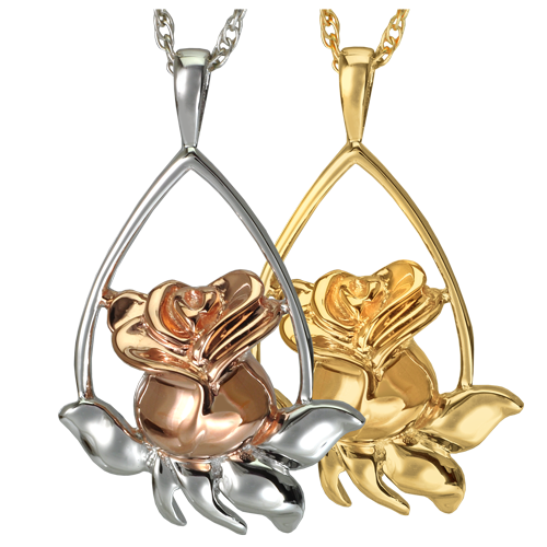 Wholesale Cremation Jewelry Rose Tear Drop shown in silver and gold metals