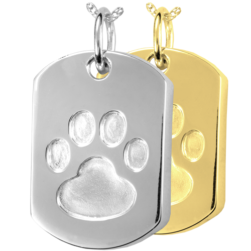 Paw Print Dog Tag pet jewelry shown in silver and gold metals