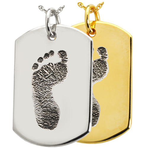 Dog Tag Footprint Jewelry in silver or gold
