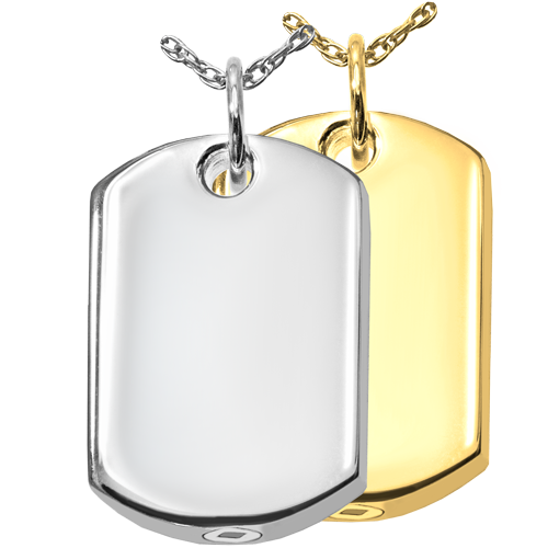Personalized Dog Tag Cremation Jewelry shown plain in silver and gold