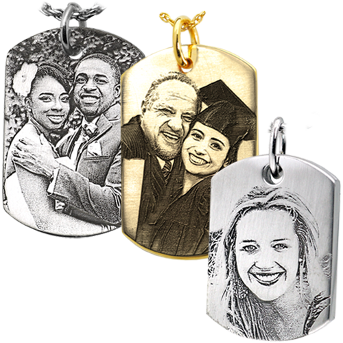photo engraved dog tag jewelry samples in different metals and styles