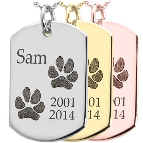 Flat Dog Tag 2 Pawprints Jewelry engraved with name shown in silver & gold