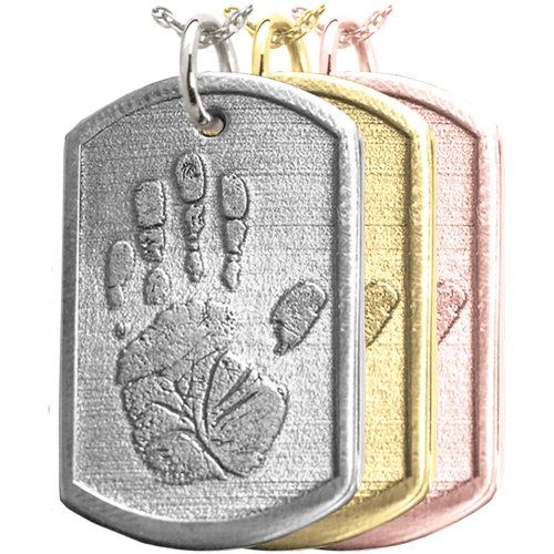 Wholesale 3D Handprint Dog Tag Remembrance in silver or gold