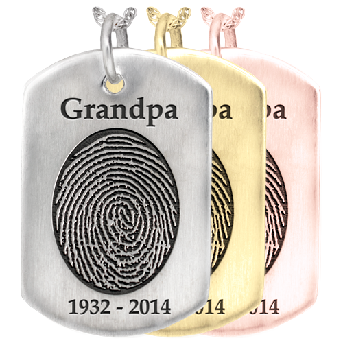 Wholesale B&B Dog Tag Fingerprint Jewelry in silver or gold