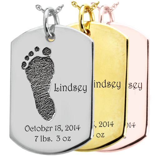 Wholesale Baby Foot-Print on Dog Tag Flat Charm in silver and gold