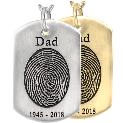 Dog Tag with Oval Fingerprint with Name, Dates in silver or gold