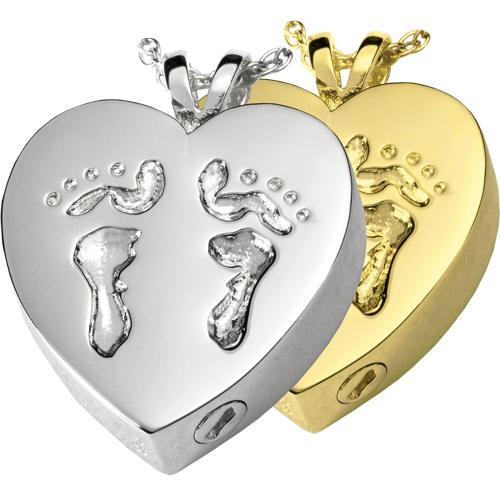 Baby Feet Heart Wholesale Cremation Jewelry shown in silver and gold
