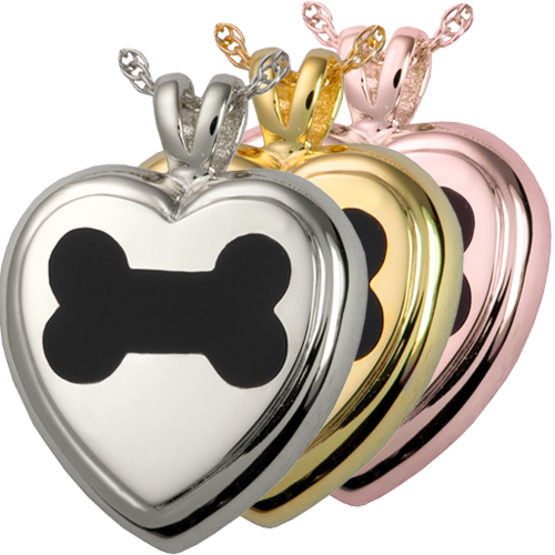 Black Inlay Dog Bone Heart pet jewelry shown in silver and golds