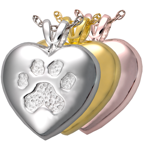 A touch of your paw pendant shown in silver, yellow and rose gold