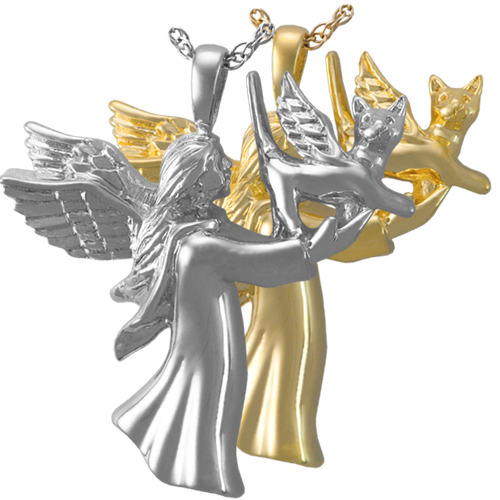 Wholesale Pet Cremation Jewelry: Angel Cat shown in silver and gold