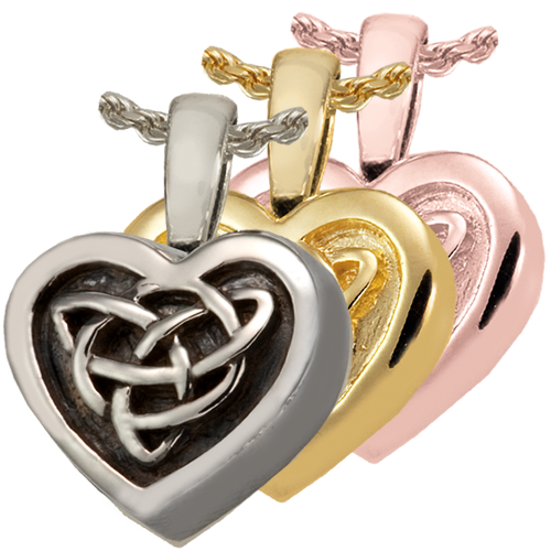 Wholesale Cremation Jewelry Celtic Heart shown in silver and gold metals